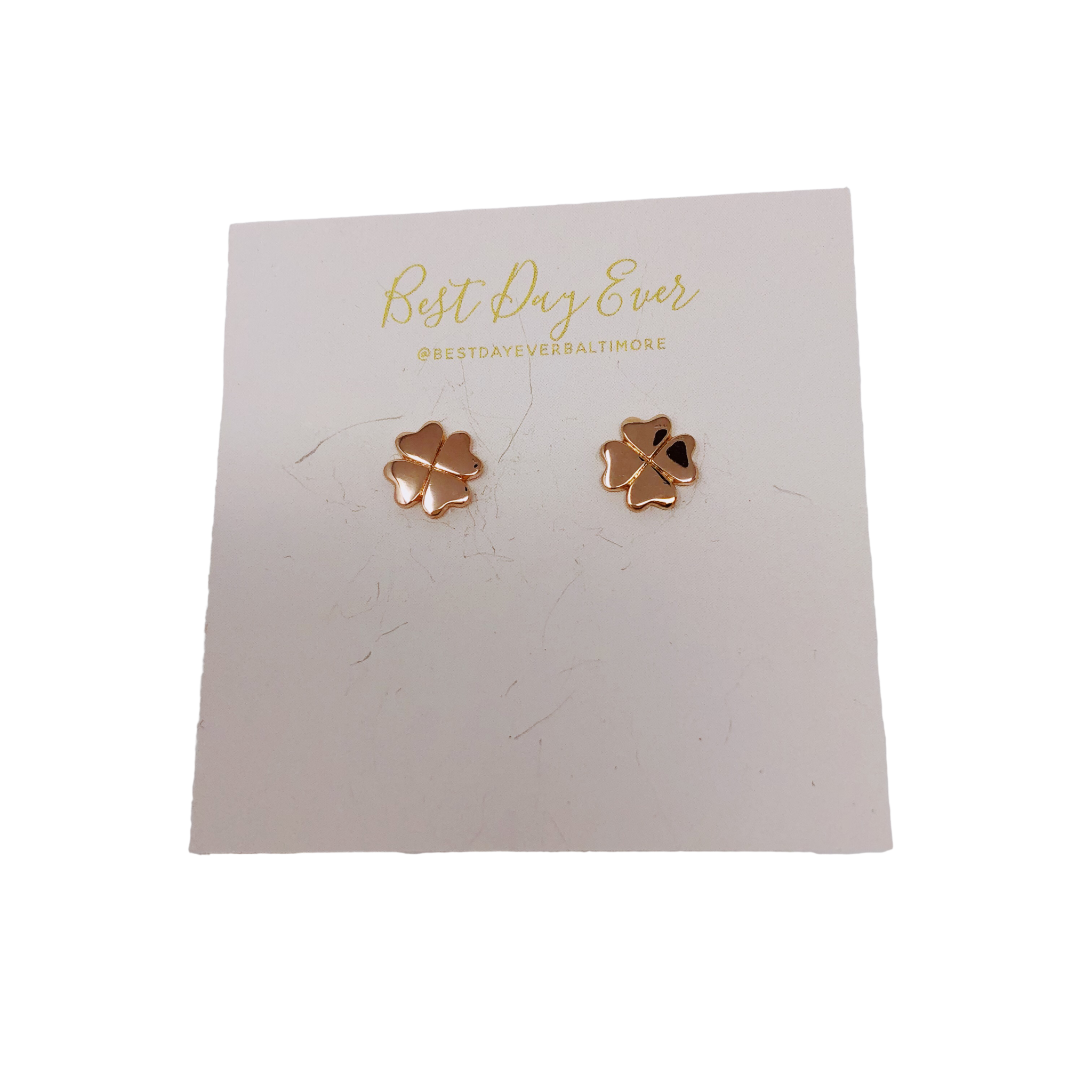 Golden Stella Clover Studs - Rose Gold