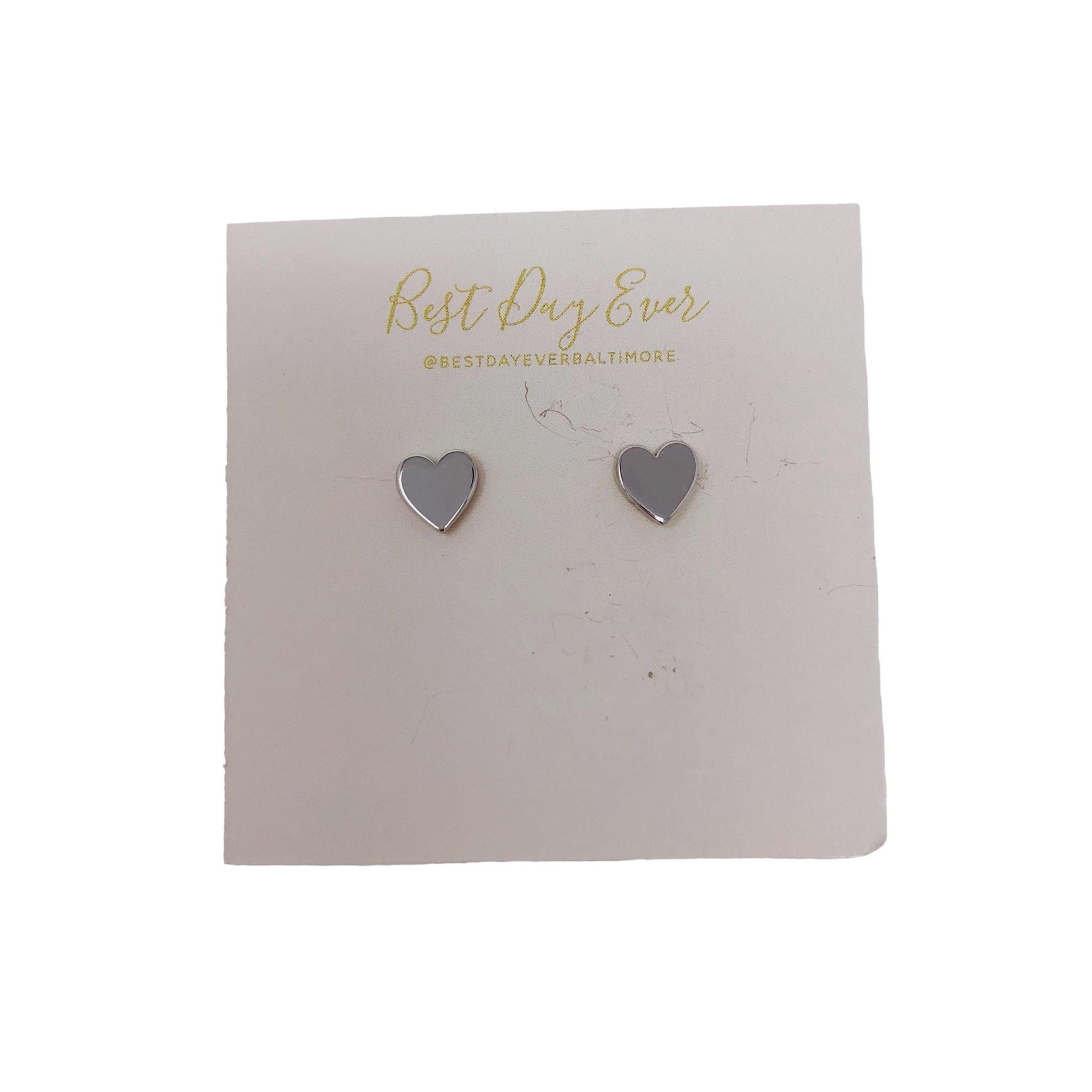 Golden Stella Heart Studs - Silver