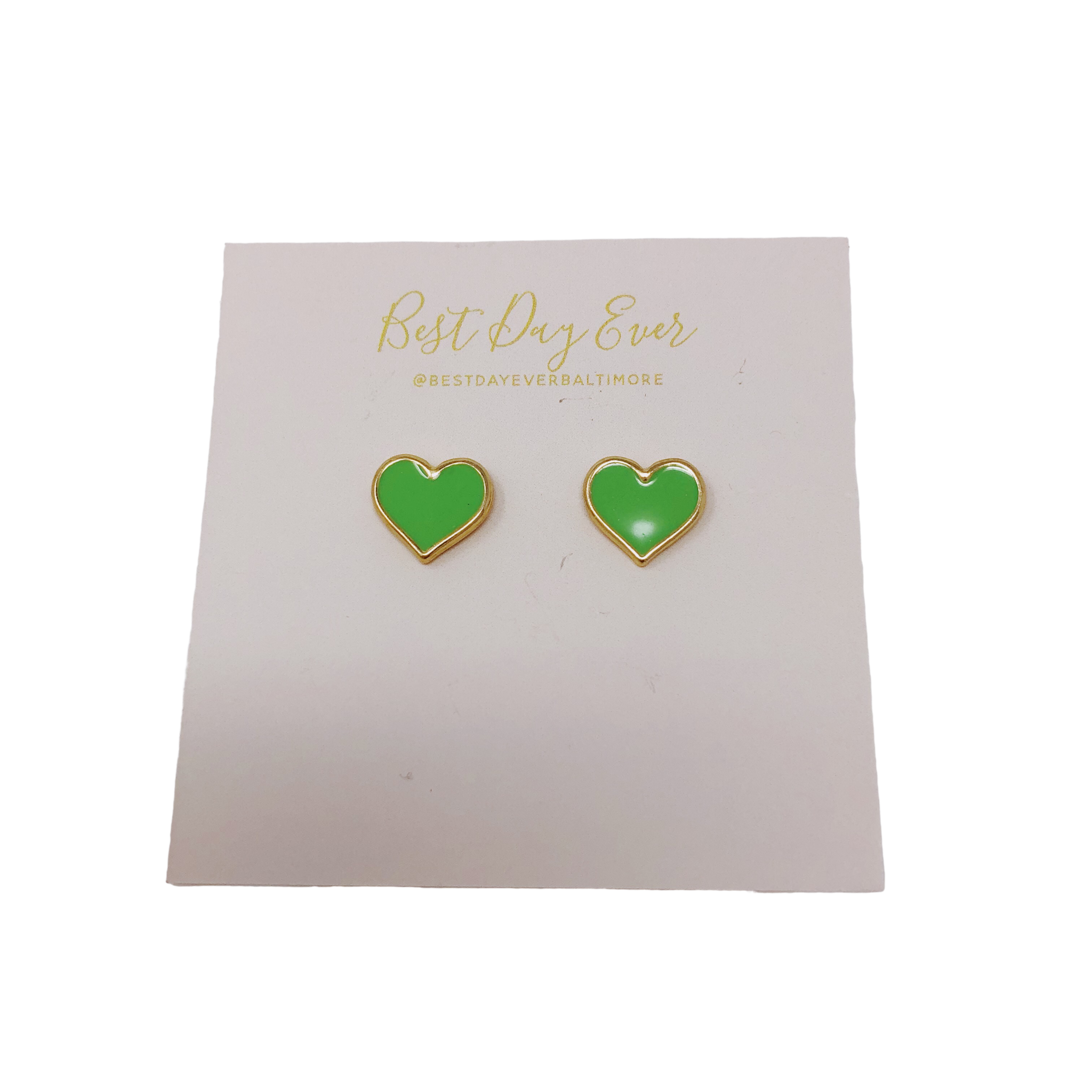 Golden Stella Epoxy Heart Studs - Green