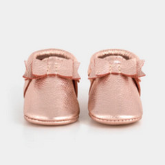 Freshly Picked Bow Moccasin Rose Gold
