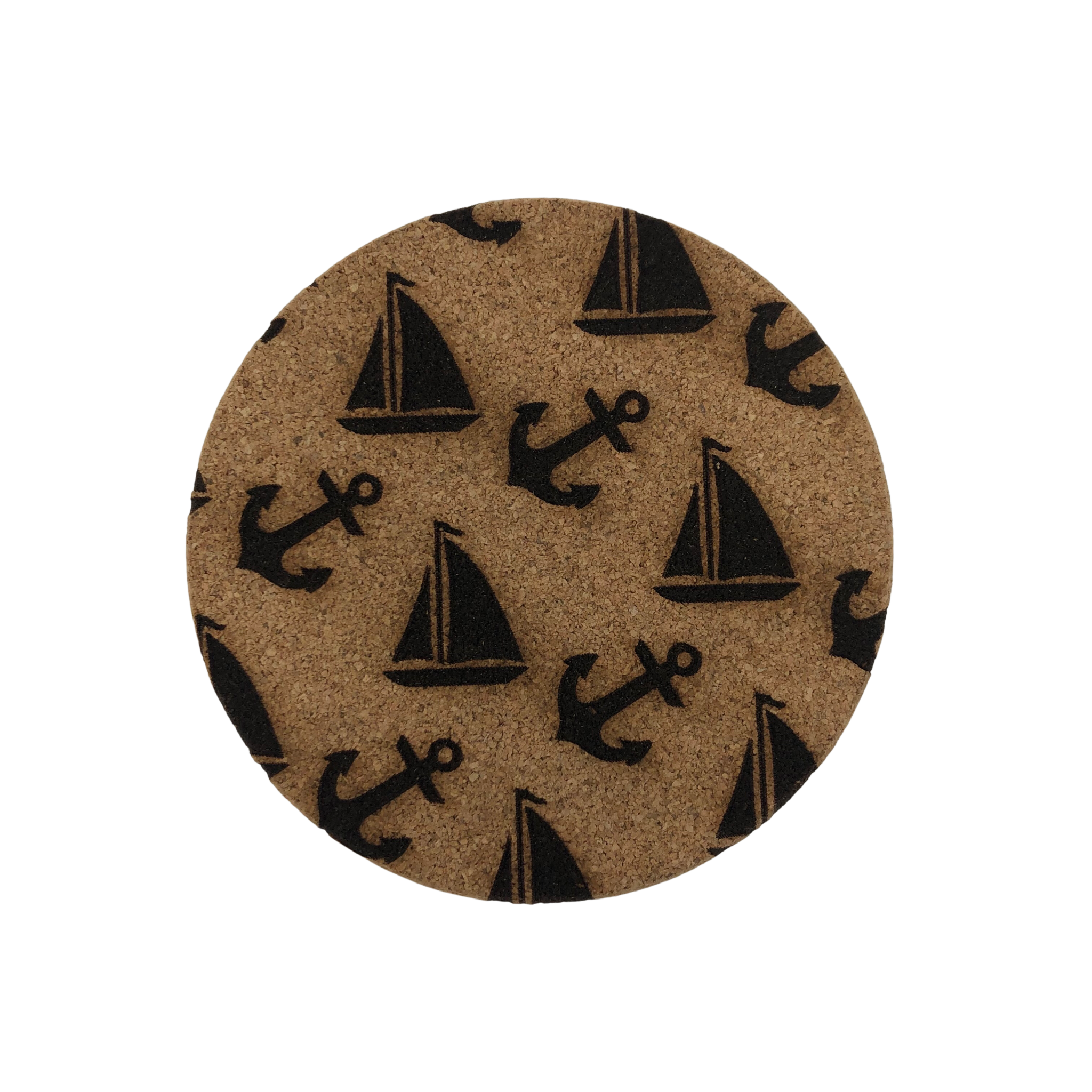 LeRoy Woodworks Cork Coaster Achor & Sailboat