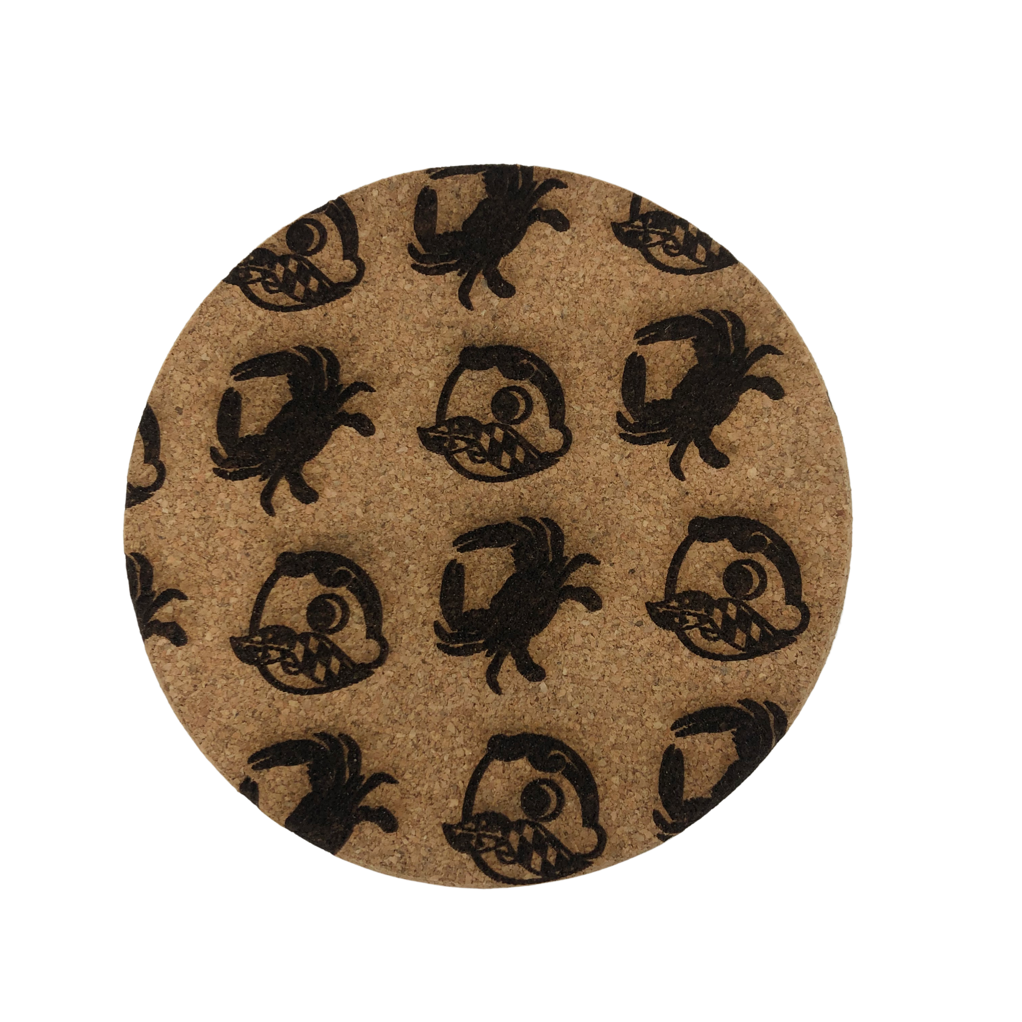 LeRoy Woodworks Cork Coaster Crab & Natty Boh