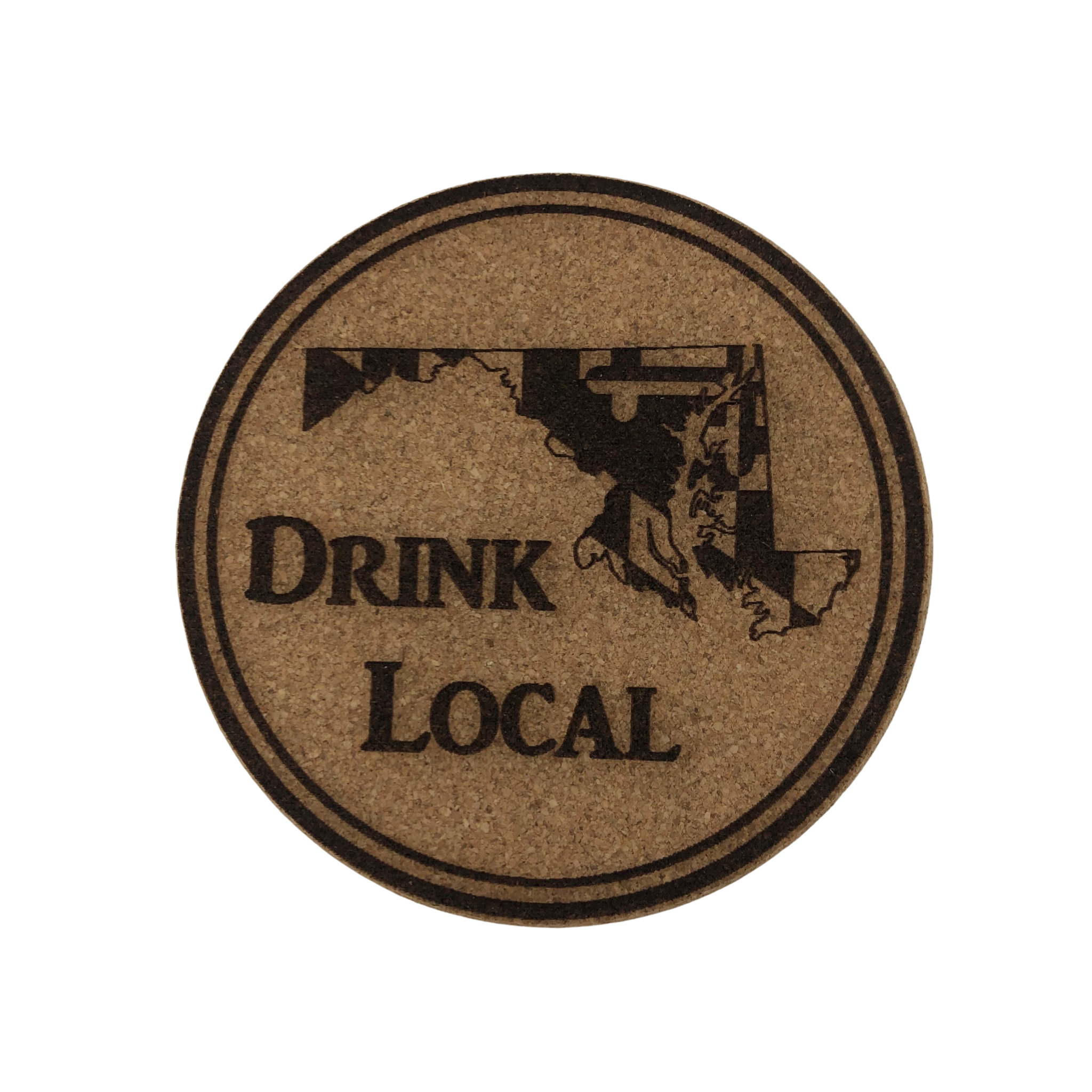 LeRoy Woodworks Cork Coaster Drink Local with Maryland