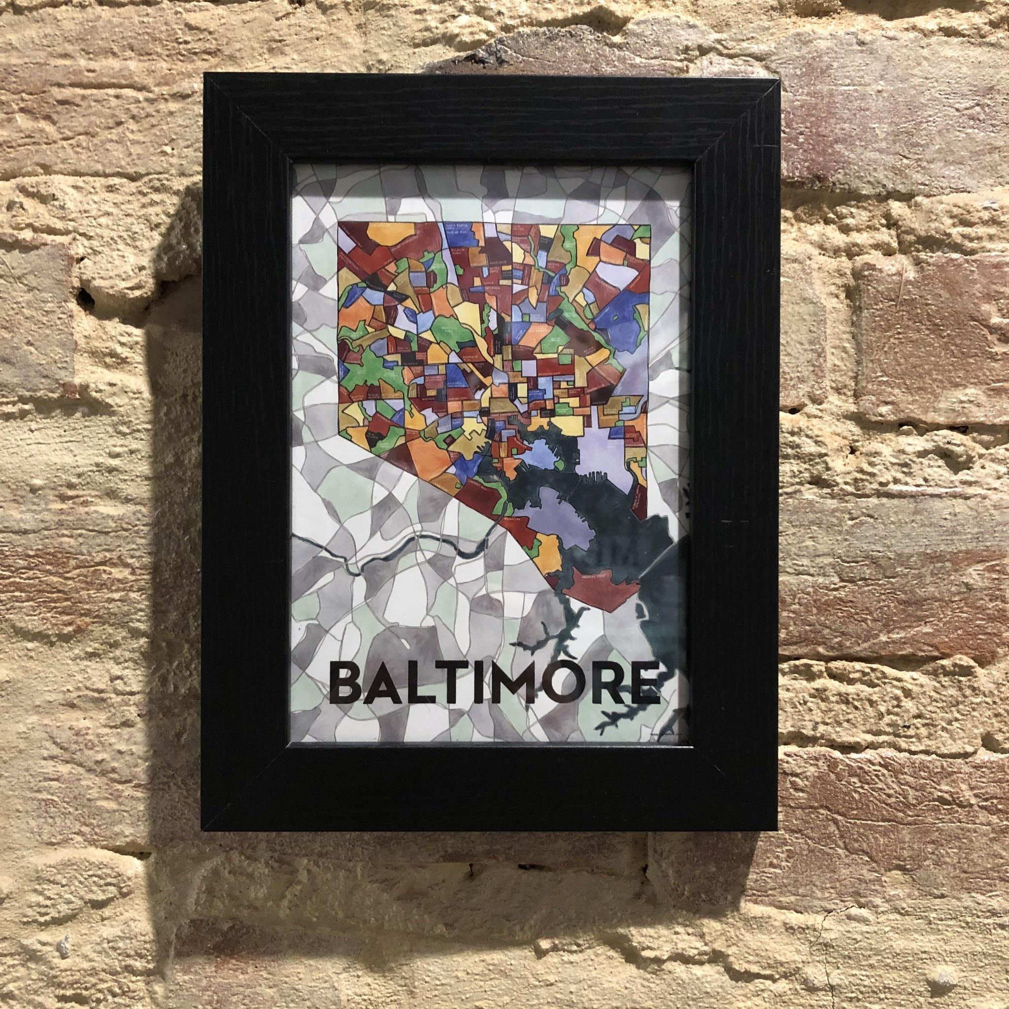 "5"" x 7"" Baltimore Card - Black Frame"