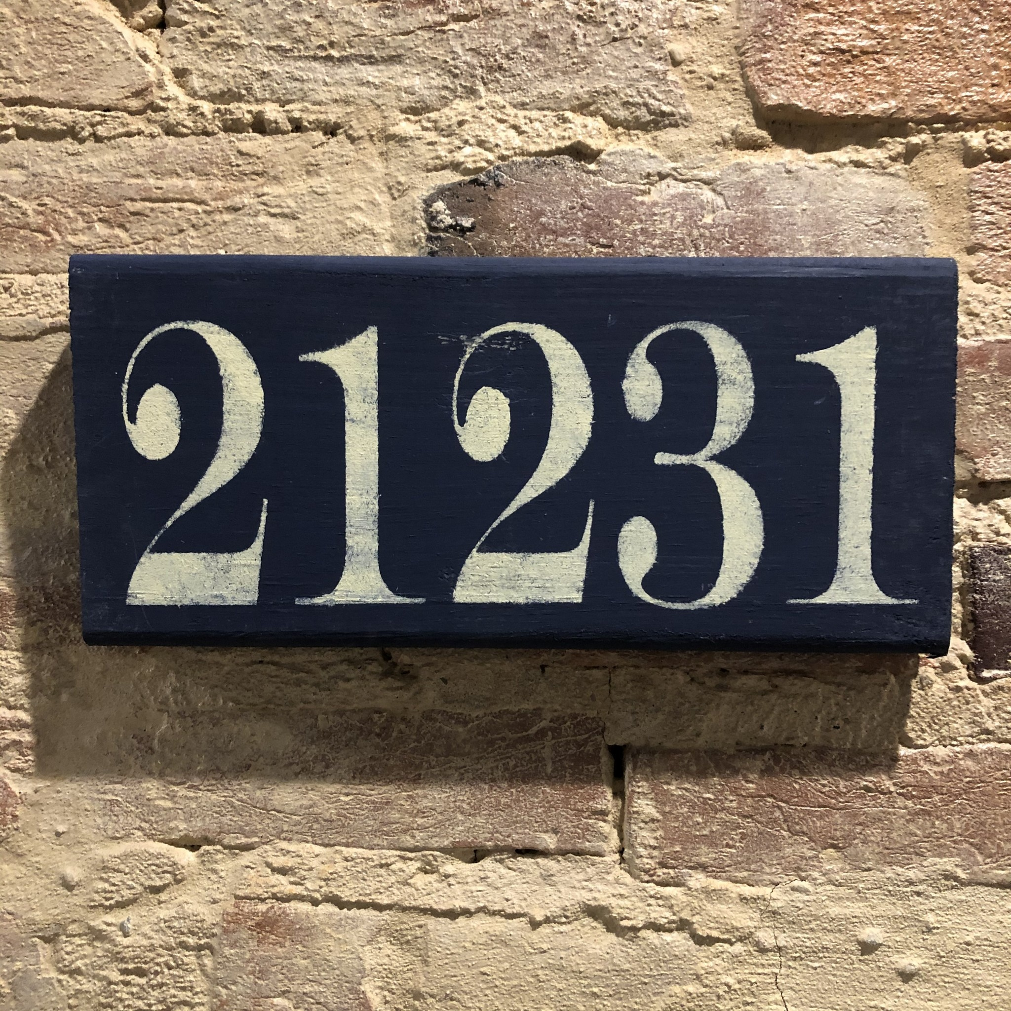 The Painted Mermaid 21231 Zip Code Sign - Navy/Yellow