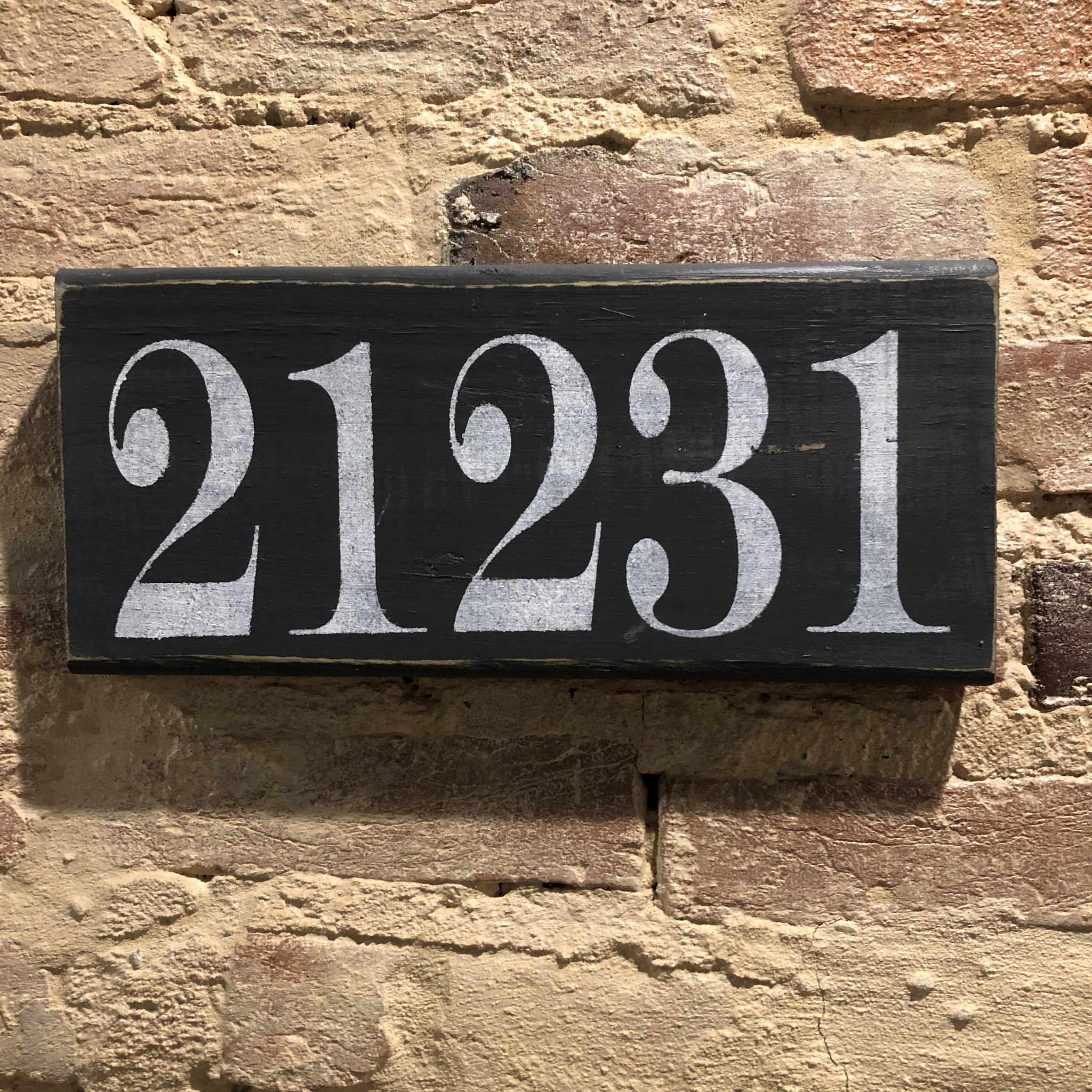 The Painted Mermaid 21231 Zip Code Sign - Charcoal