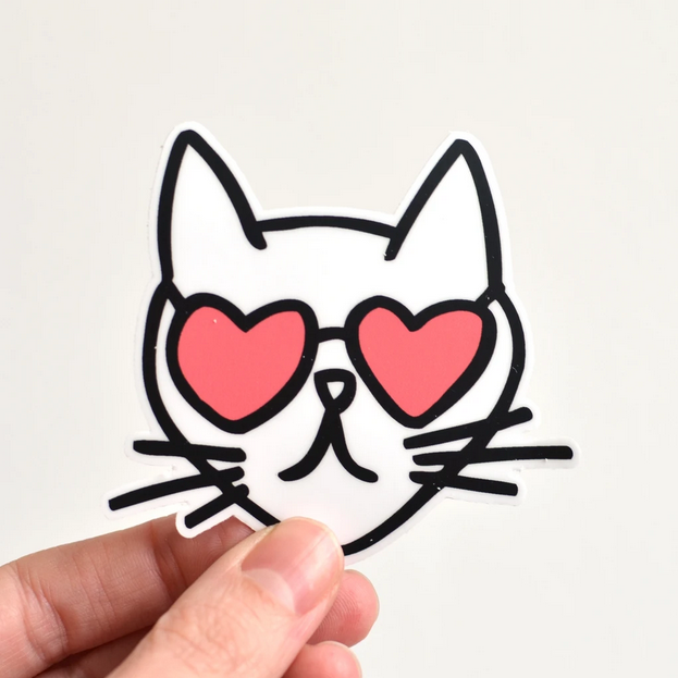 Row House 14 Cat Heart Glasses Sticker