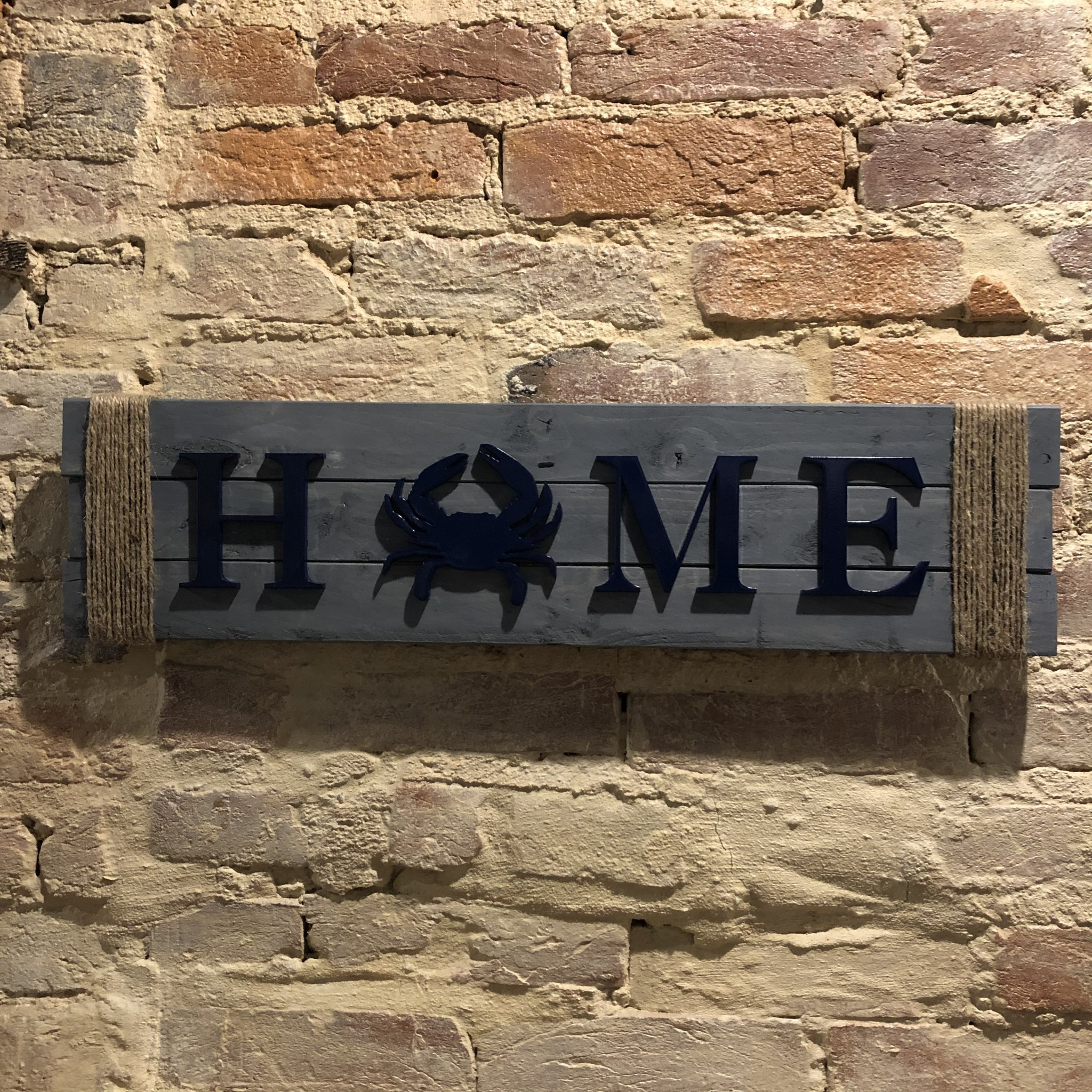 LeRoy Woodworks Crab Rope Home Sign - Stained Grey