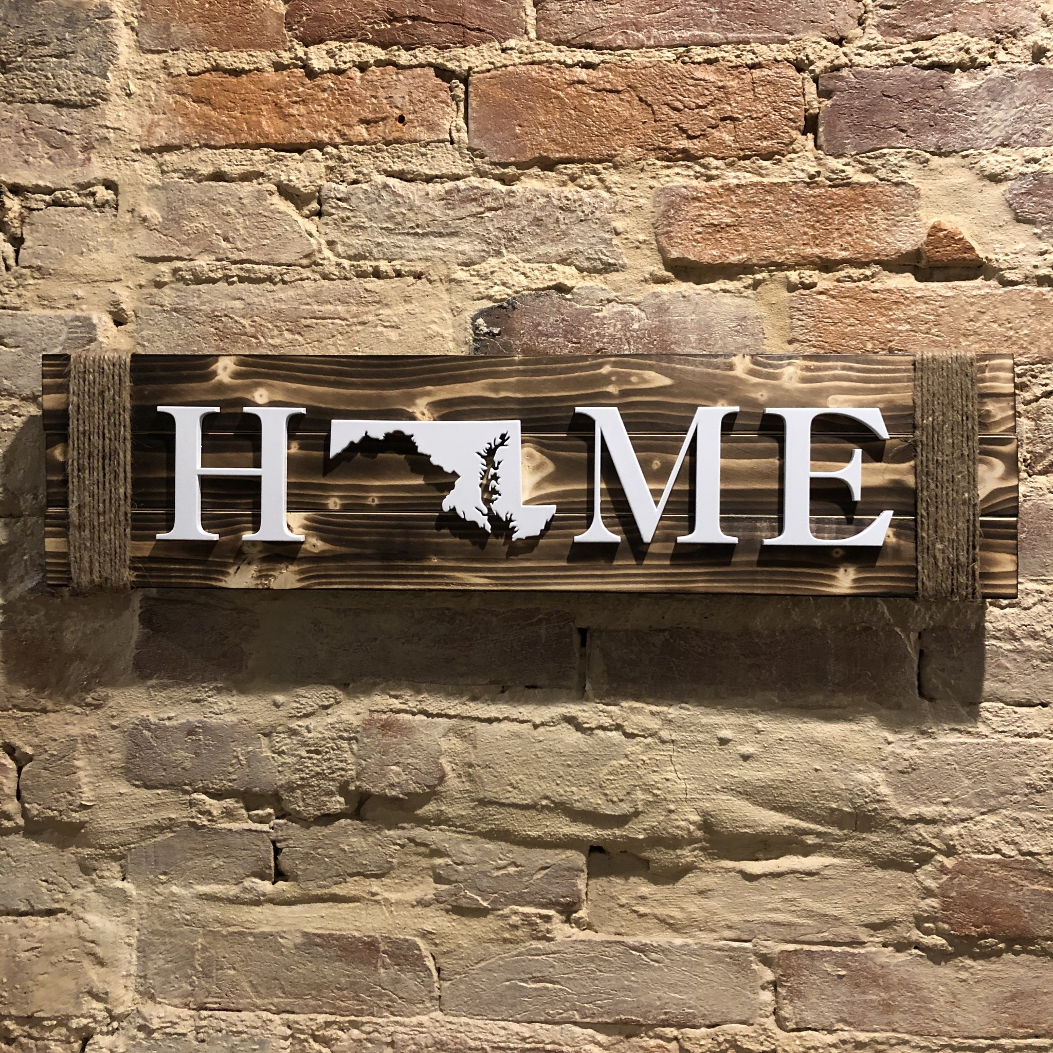 LeRoy Woodworks Maryland Rope Home Sign - Burnt Wood