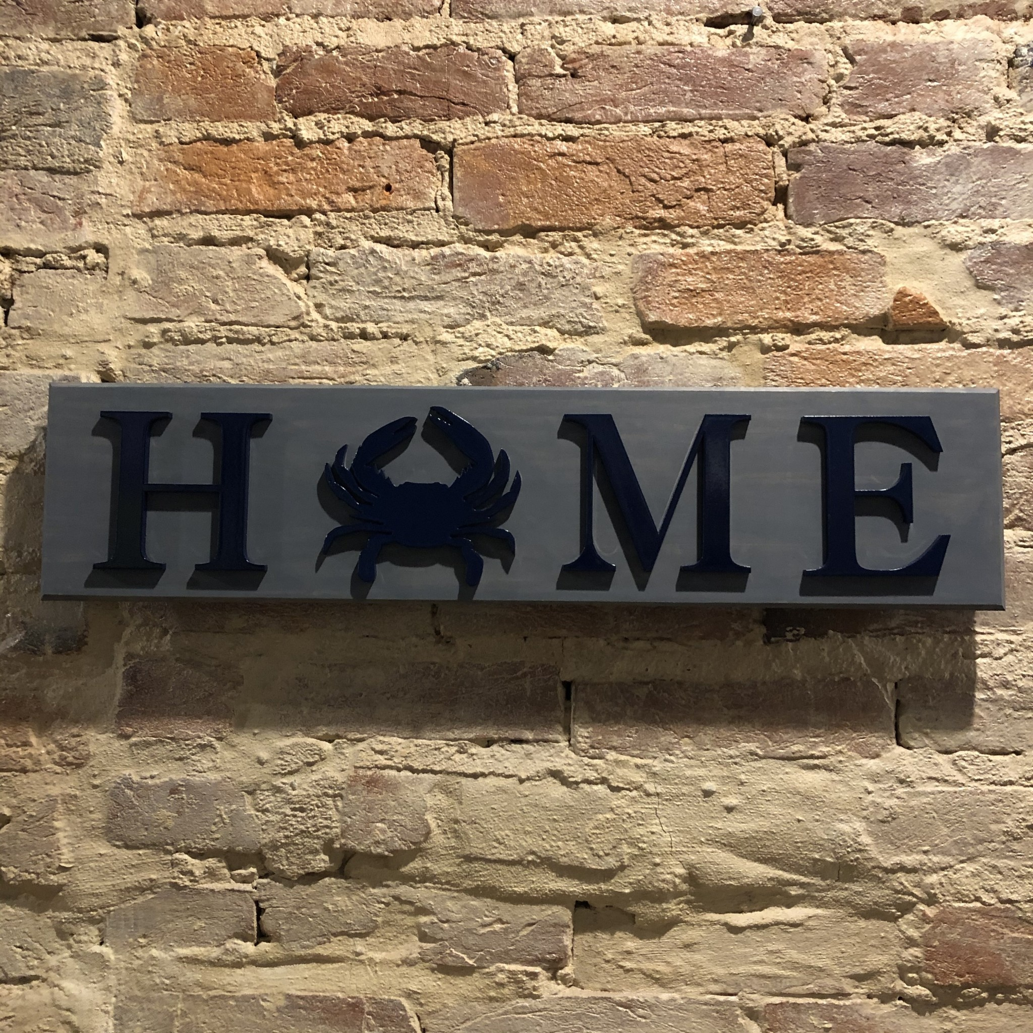 LeRoy Woodworks Crab Home Sign - Gray