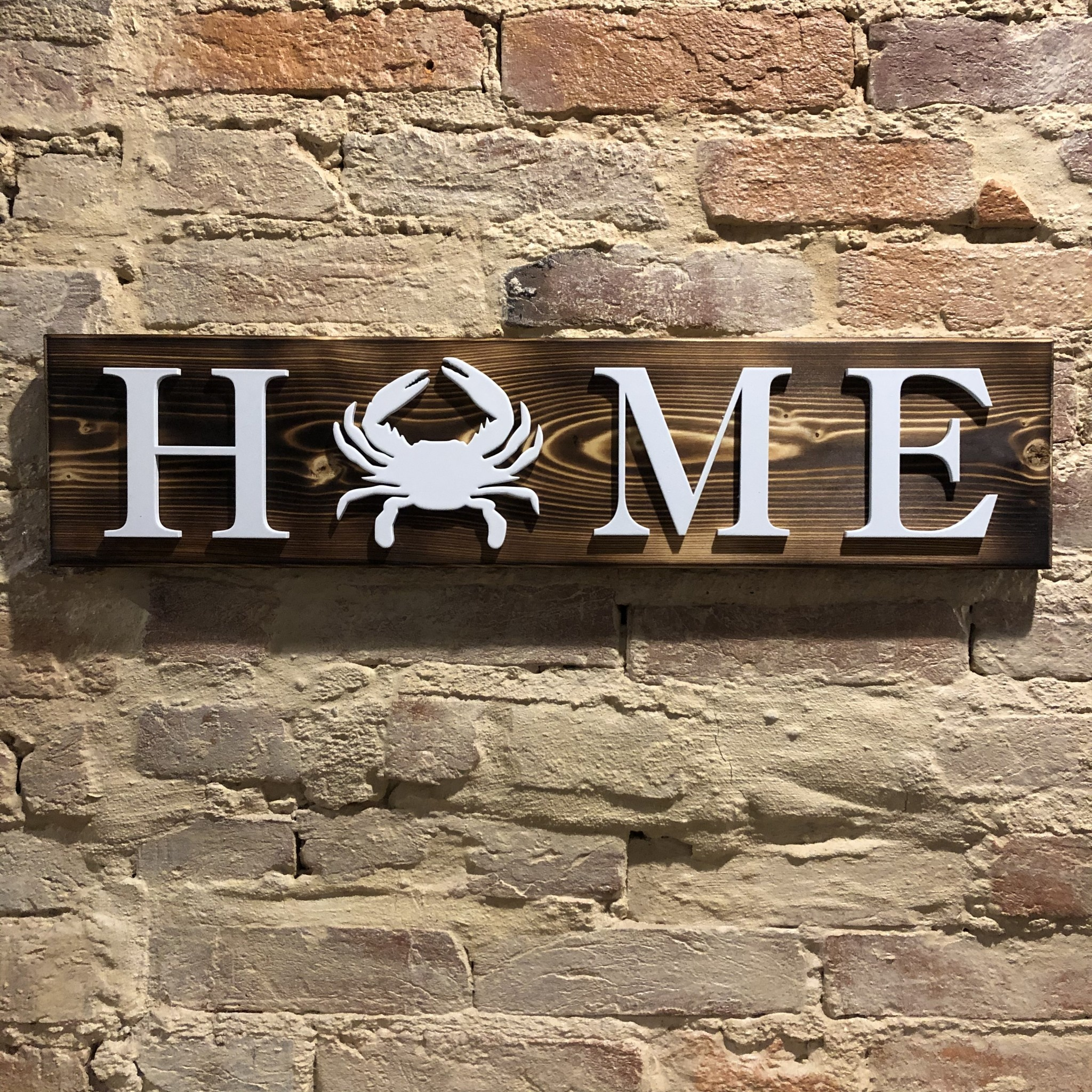 LeRoy Woodworks Crab Home Sign - Burnt Wood