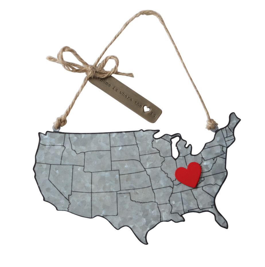 Mud Pie HOME STATE TIN ORNAMENT