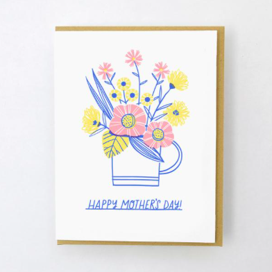 Egg Press Cup of Flowers Mother's Day Card