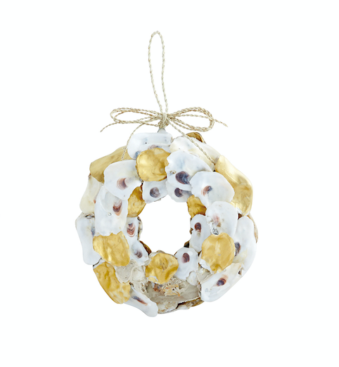 Mud Pie GOLD WREATH OYSTER ORNAMENT