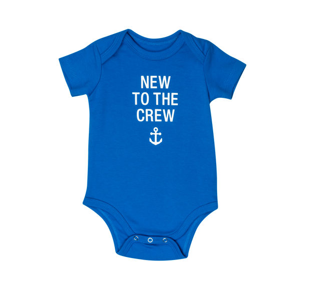 About Face Designs New To the Crew Onesie 3-6 Months