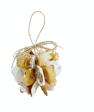 Mud Pie GOLD BALL OYSTER ORNAMENT