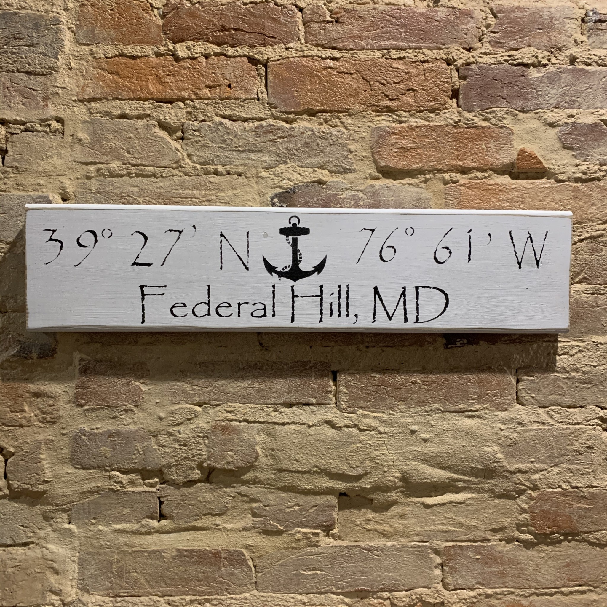 The Painted Mermaid Federal Hill Coordinates Sign - White