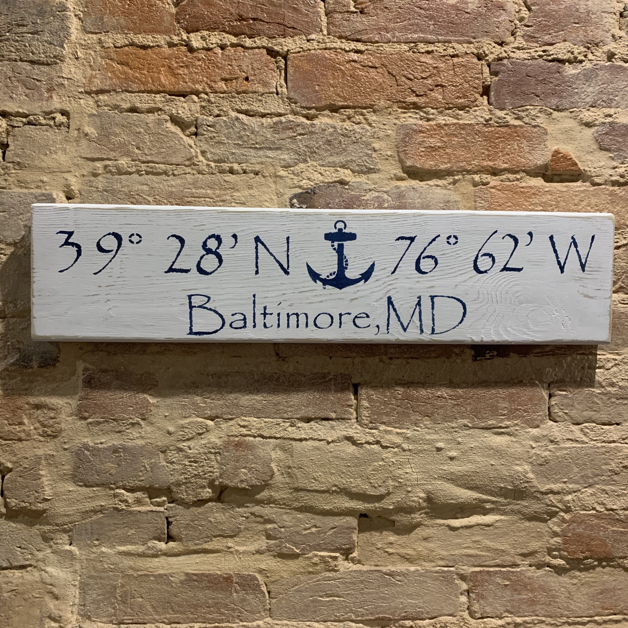 The Painted Mermaid Baltimore Coordinates Sign - White Anchor