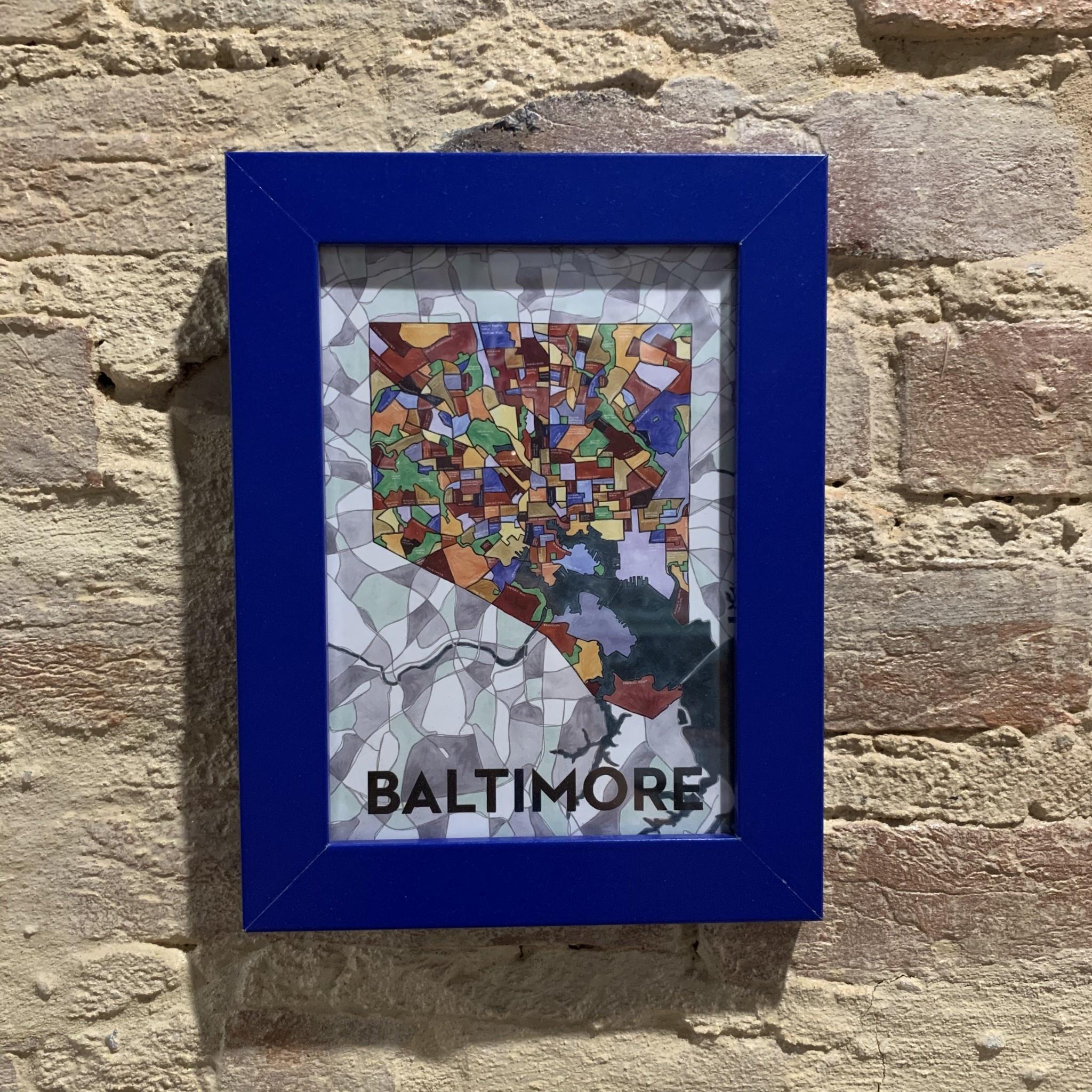 """Cherry Blossom Creative 5"""" x 7"""" Baltimore Card - Blue Frame"""