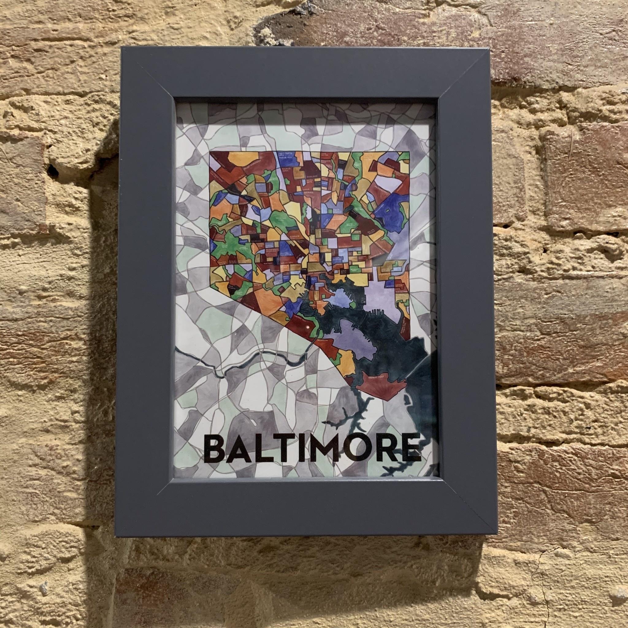 """Cherry Blossom Creative 5"""" x 7"""" Baltimore Card - Gray Frame"""