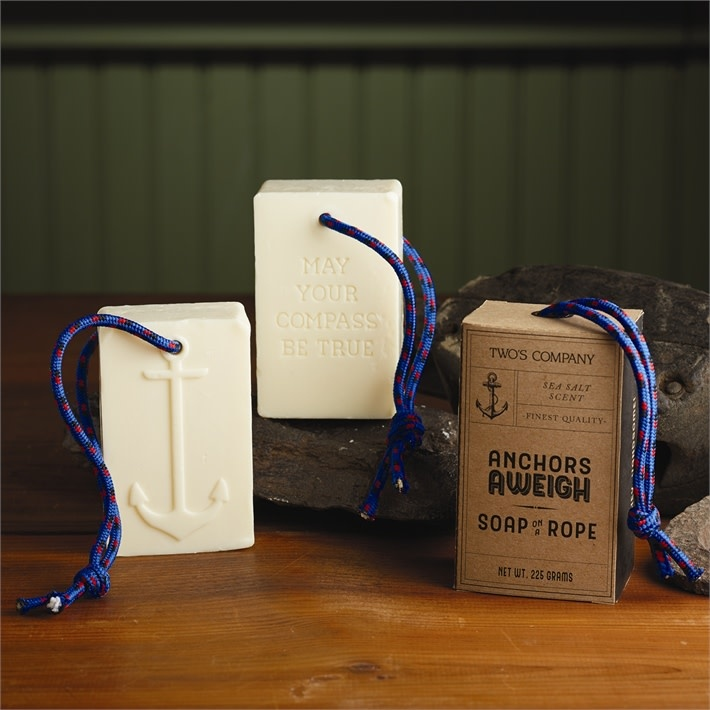 Two's Company Anchored Soap On A Rope with Sea Salt Scented in Gbox