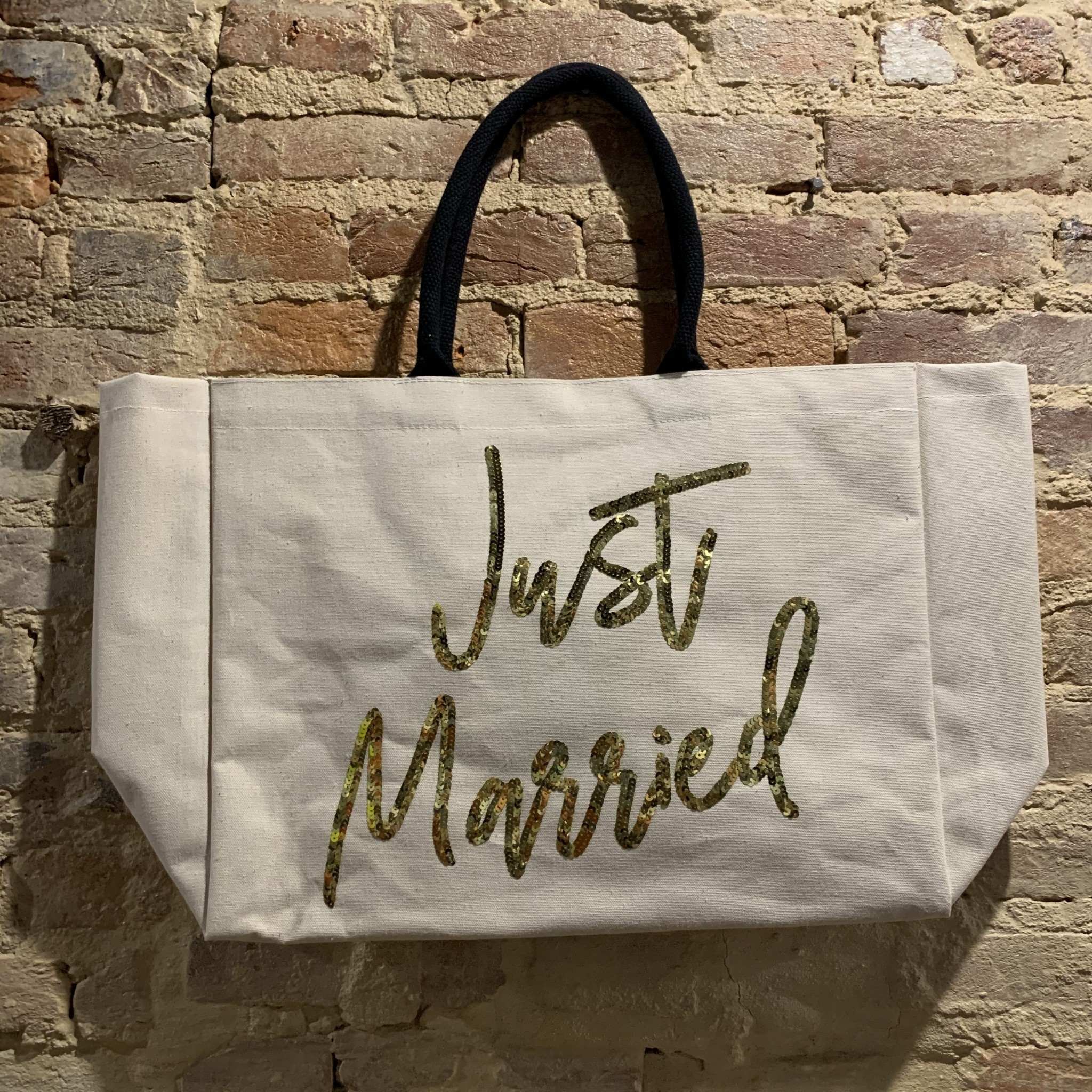 Two's Company Just Married Beach Tote w/ Sequin