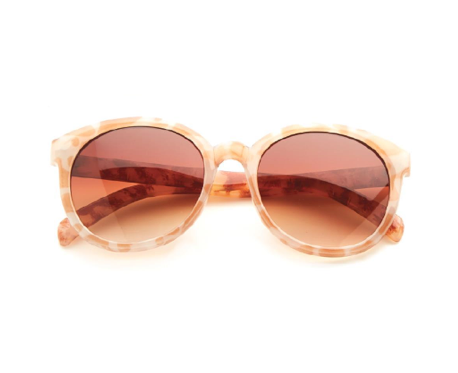 Two's Company Mixed Pattern Sunglasses - Light Tortoise