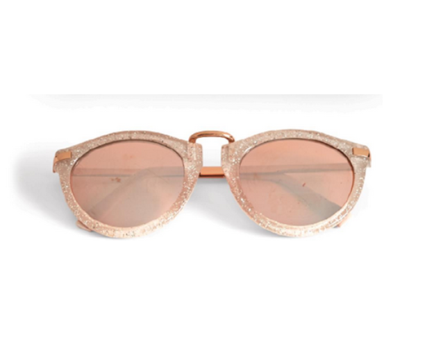 Two's Company Glitter Frame Sunglasses - Pink