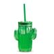 Two's Company Cactus Mason Jar w/ Straw - Dark Green