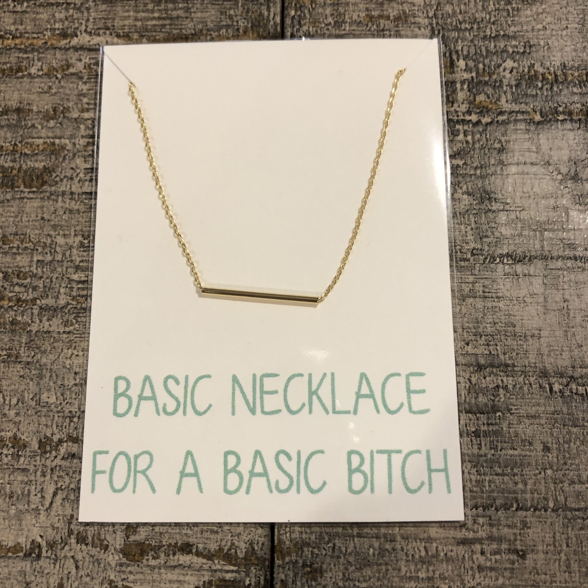 Golden Stella Thin Tube Bar Necklace Gold