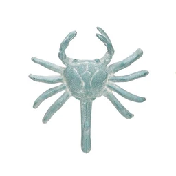 Creative Co-op Cast Iron Crab Wall Hook - Blue