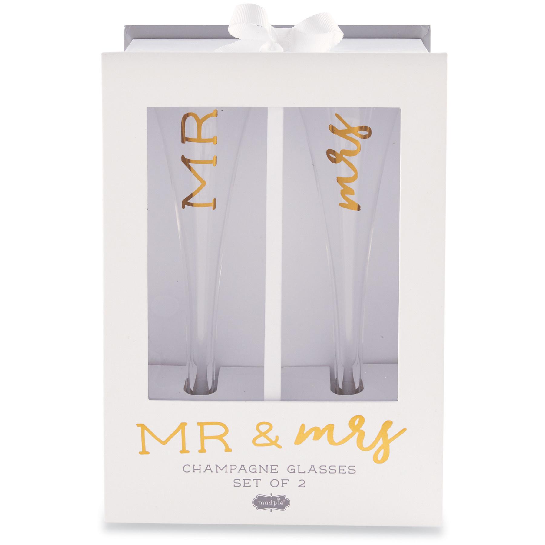 Mud Pie Mr. & Mrs. Champagne Set