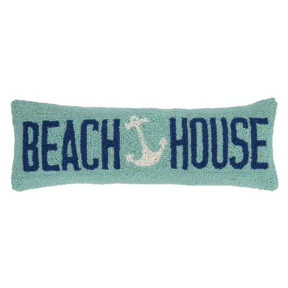 "Peking Handicraft Beach House Anchor Hook Pillow 8"" x 24"""