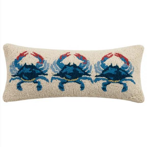 """Peking Handicraft Blue Crabs Hook Pillow 8"""" x 20"""""""