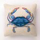"""Peking Handicraft Blue Crab Hook Pillow 16"""" x 16"""""""