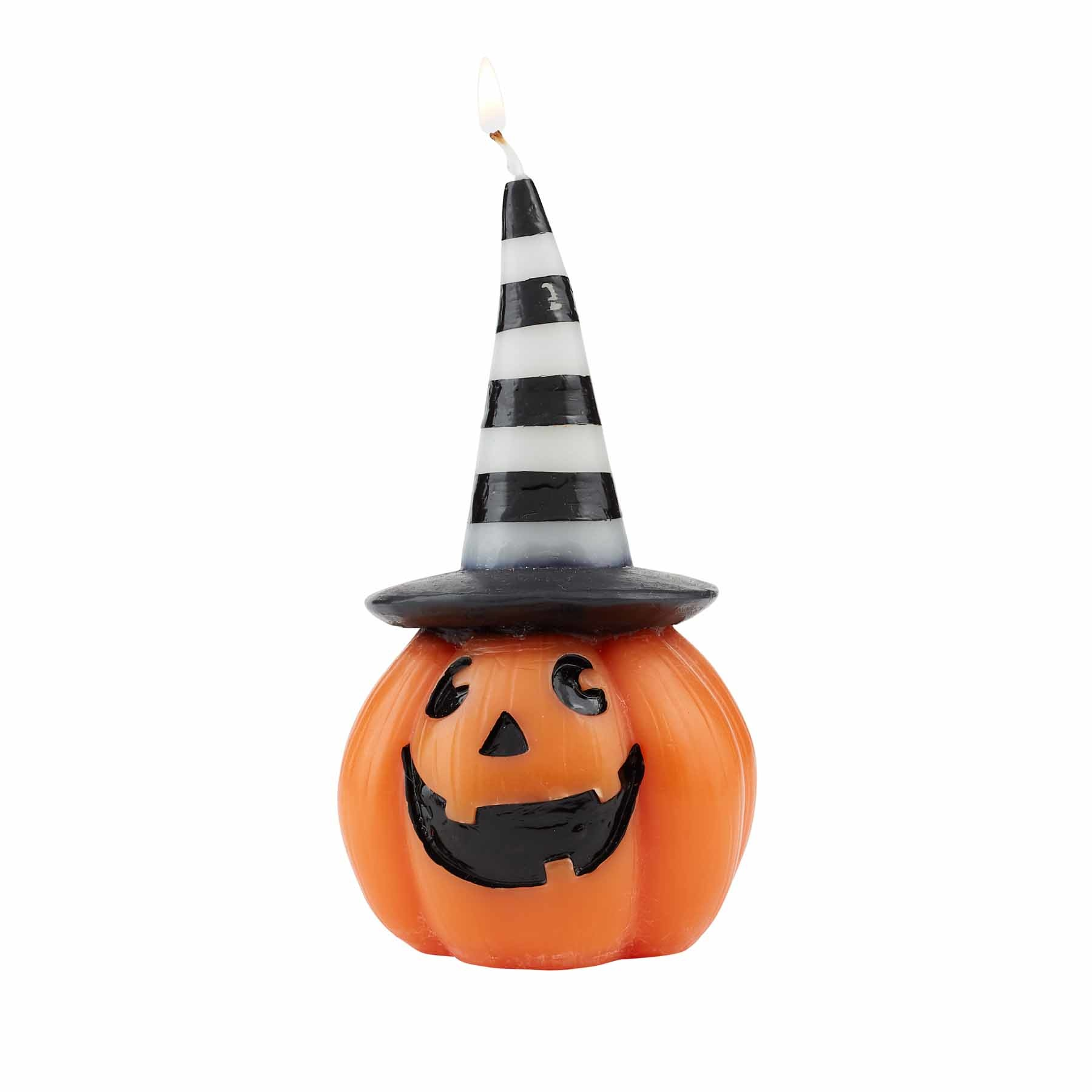 Mud Pie STRIPED HALLOWEEN PUMPKIN CANDLE