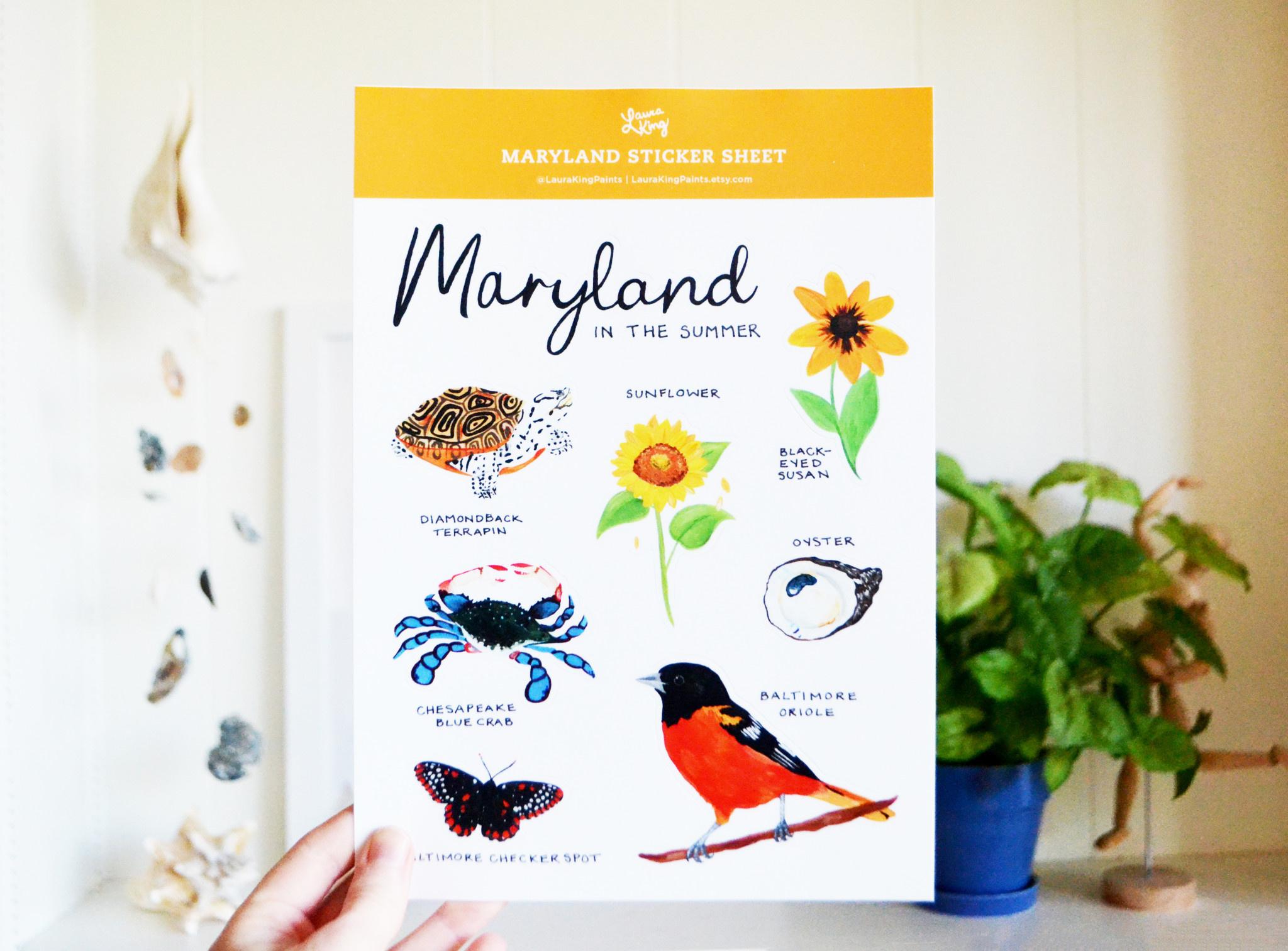 Laura King Paints Maryland Sticker Sheet