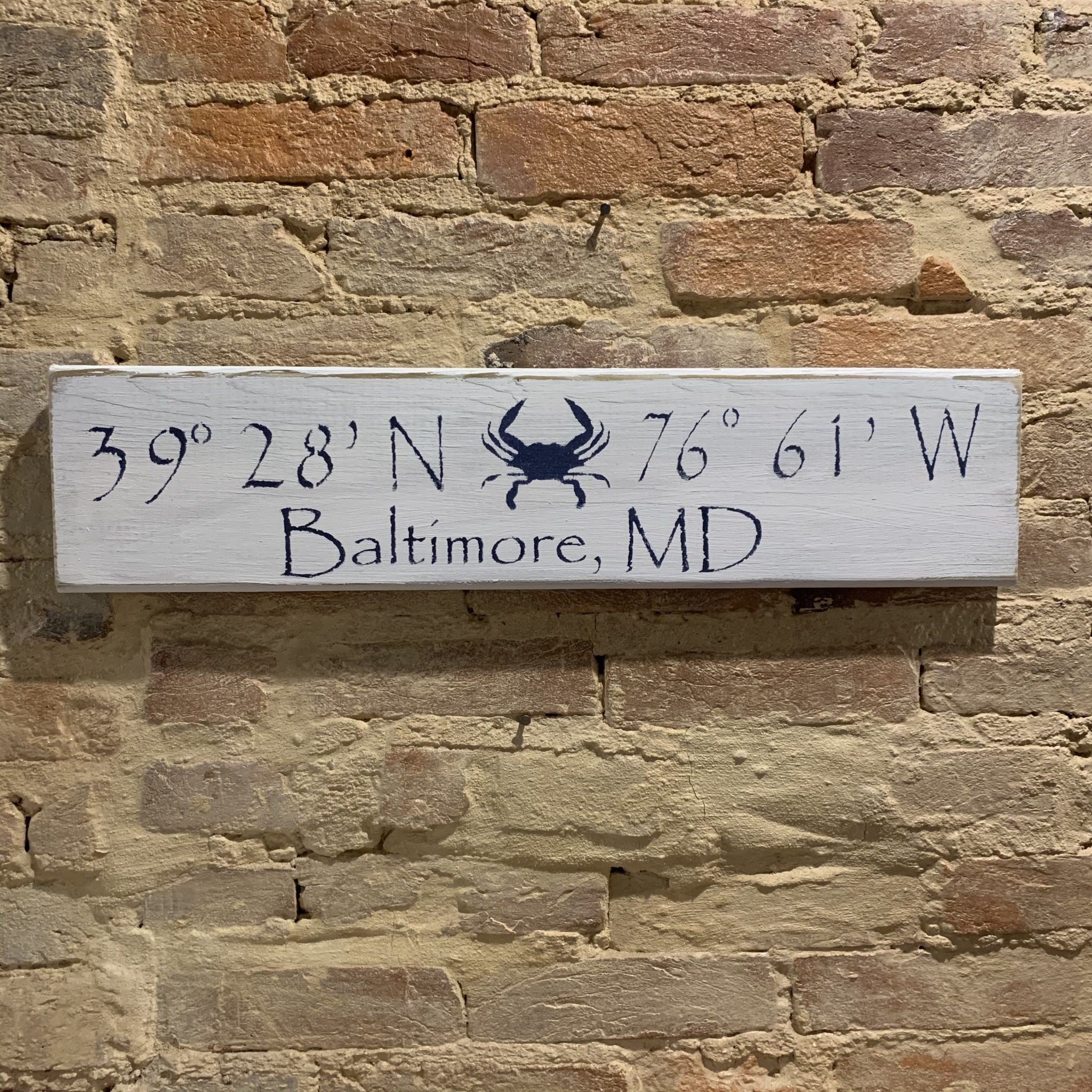 The Painted Mermaid Baltimore Coordinates Sign - White Crab
