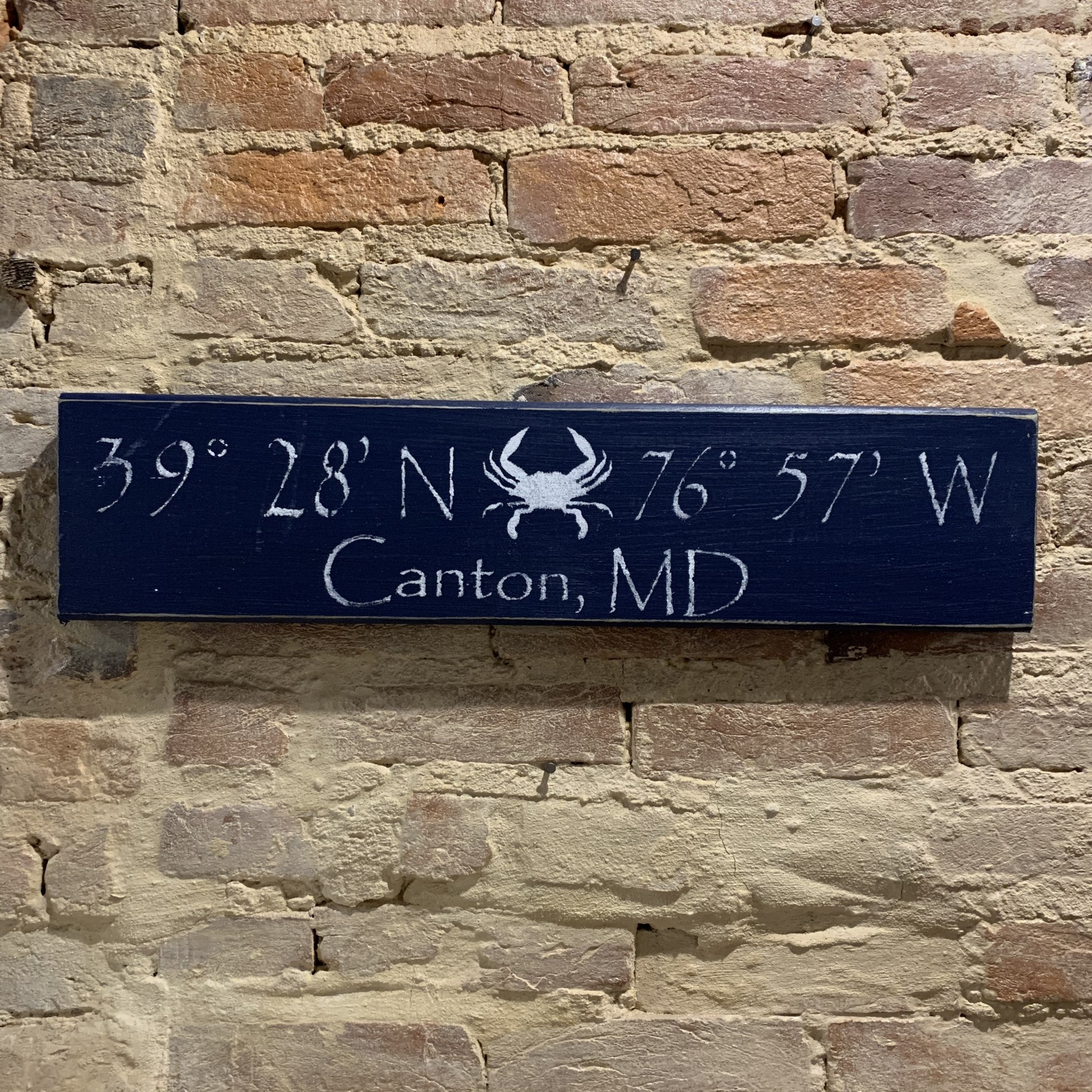 The Painted Mermaid Canton Coordinates Sign - Navy Crab