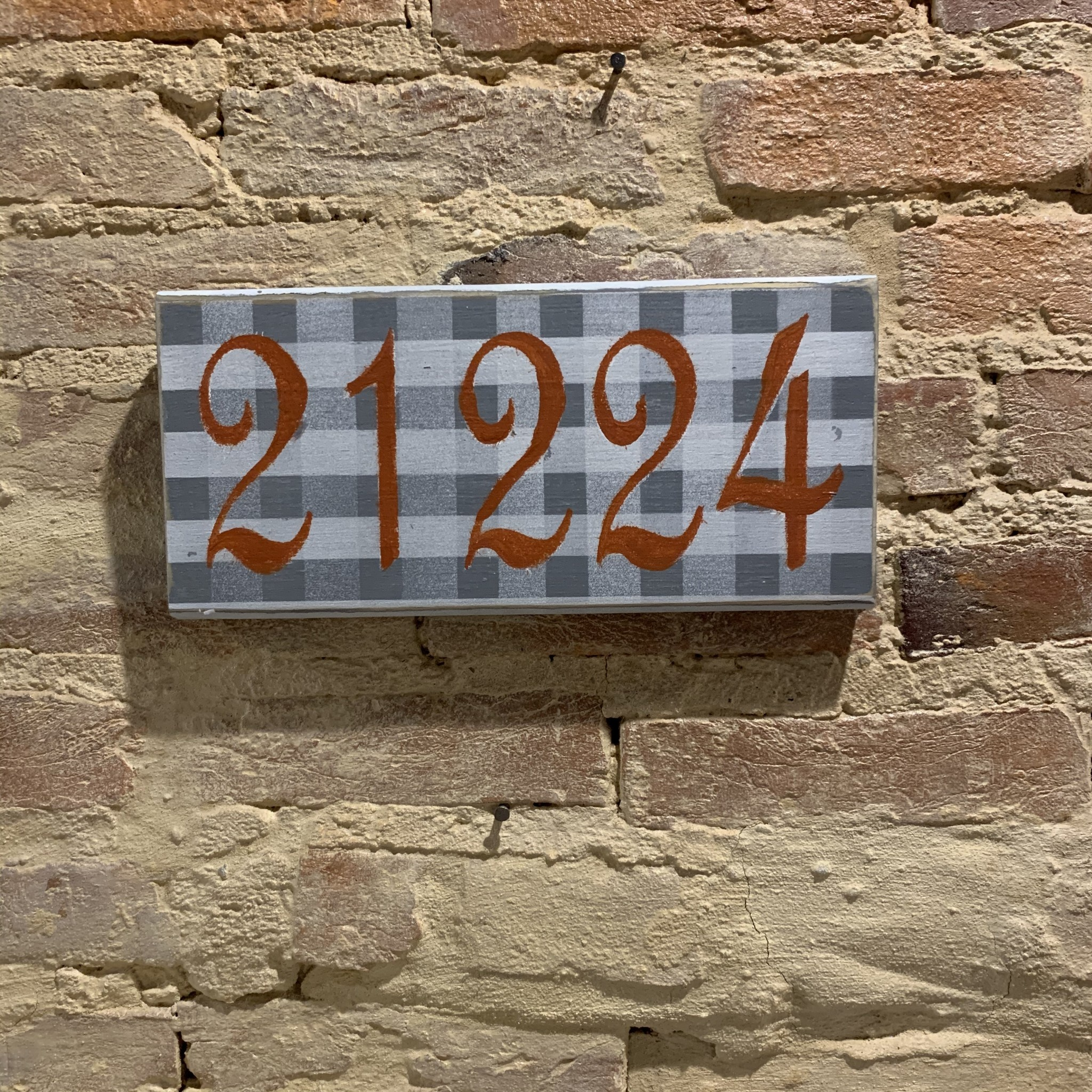 The Painted Mermaid 21224 Zip Code Sign - Gray Gingham/Orange
