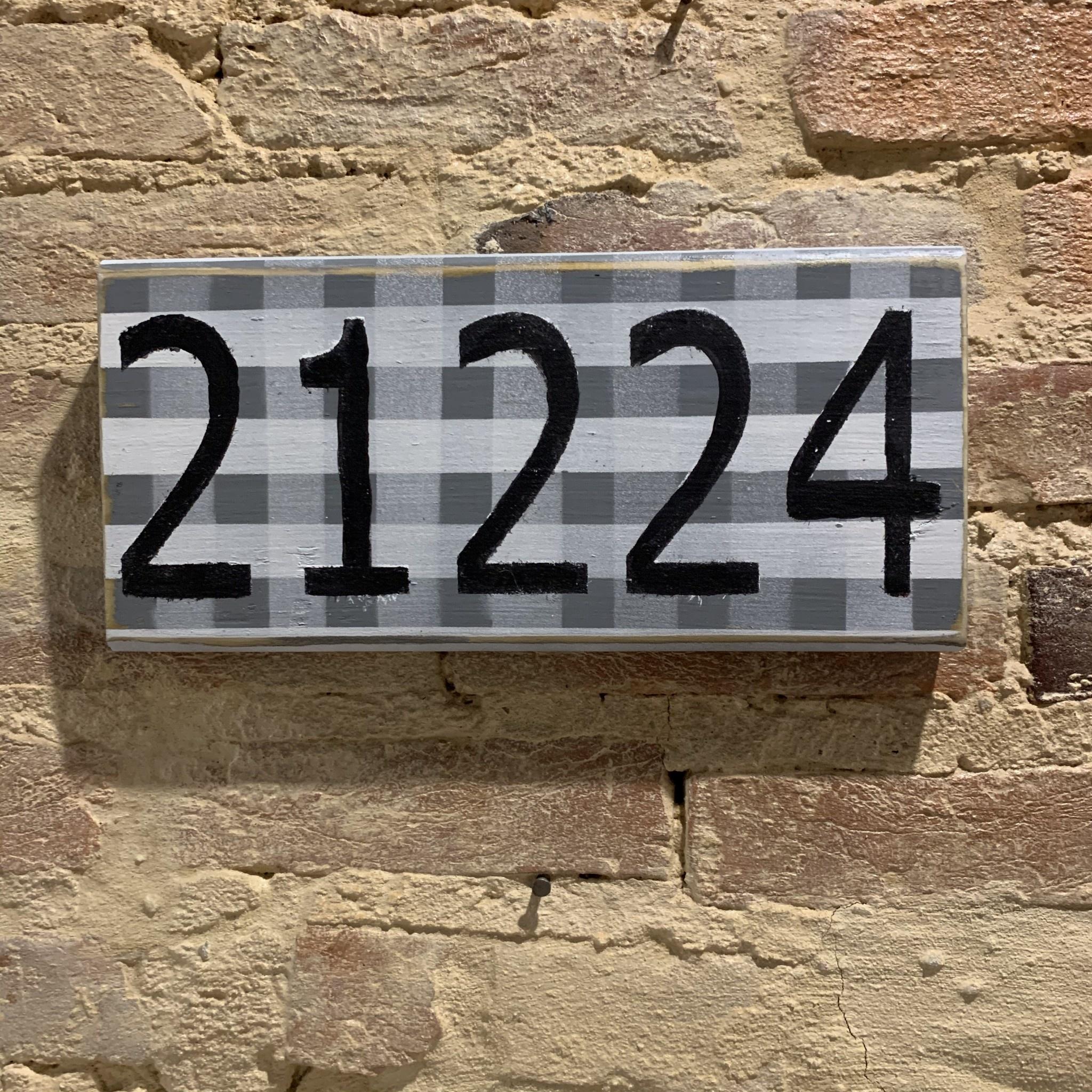The Painted Mermaid 21224 Zip Code Sign - Gray Gingham/Black