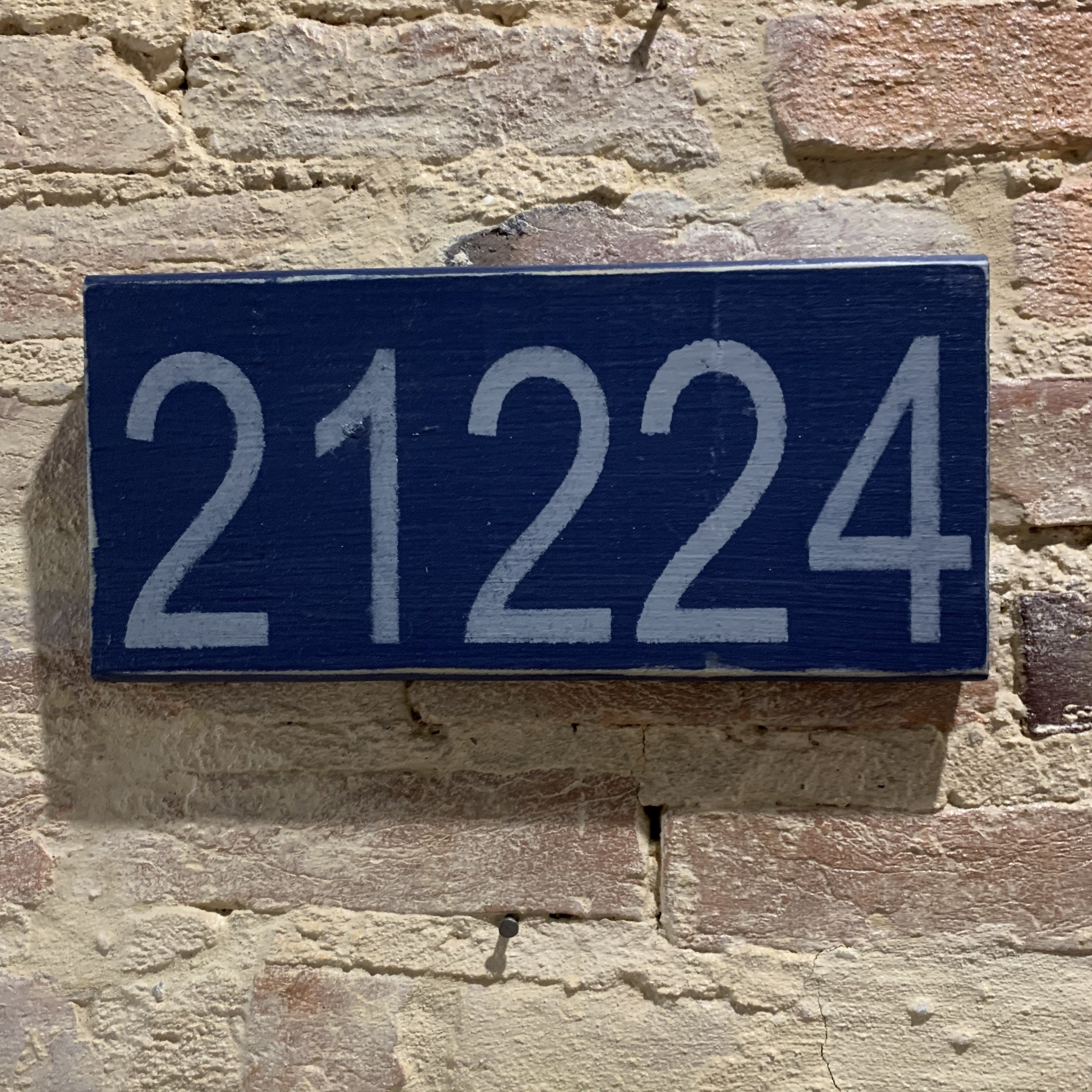 The Painted Mermaid 21224 Zip Code Sign - Navy/Gray