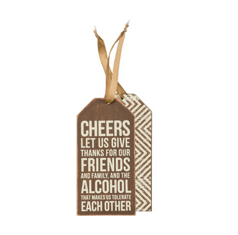 Primitives By Kathy Bottle Tag - Cheers
