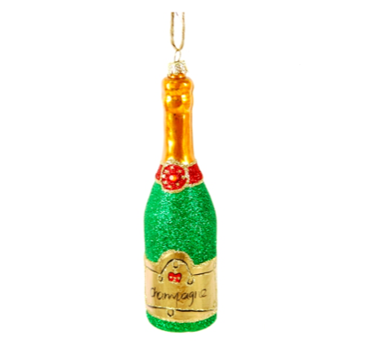 Cody Foster & Co Glittered Champagne Bottle - Green