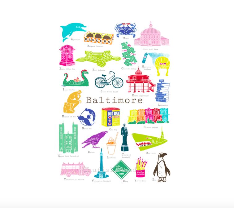 ChufishStudio Baltimore A to Z Print - 8 x 10