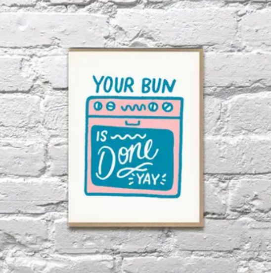 Bench Pressed Bun Is Done Baby Card