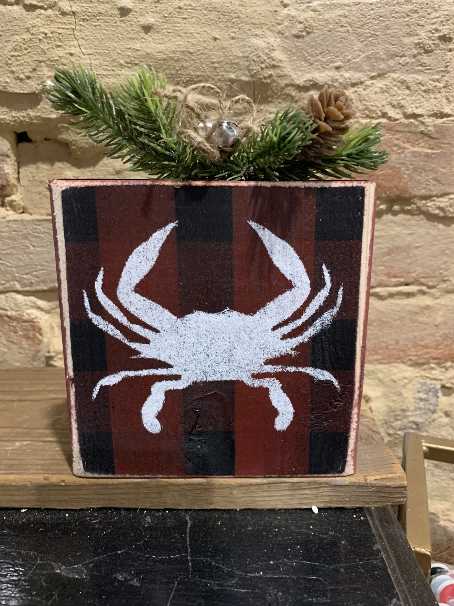 The Painted Mermaid Buffalo Plaid Block - Crab