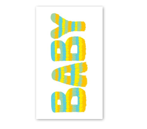 Rock Scissor Paper Blue Baby Pinata Enclosure Card