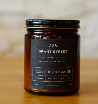 Grant Street Candle Co. Coconut + Bergmont 9oz Candle