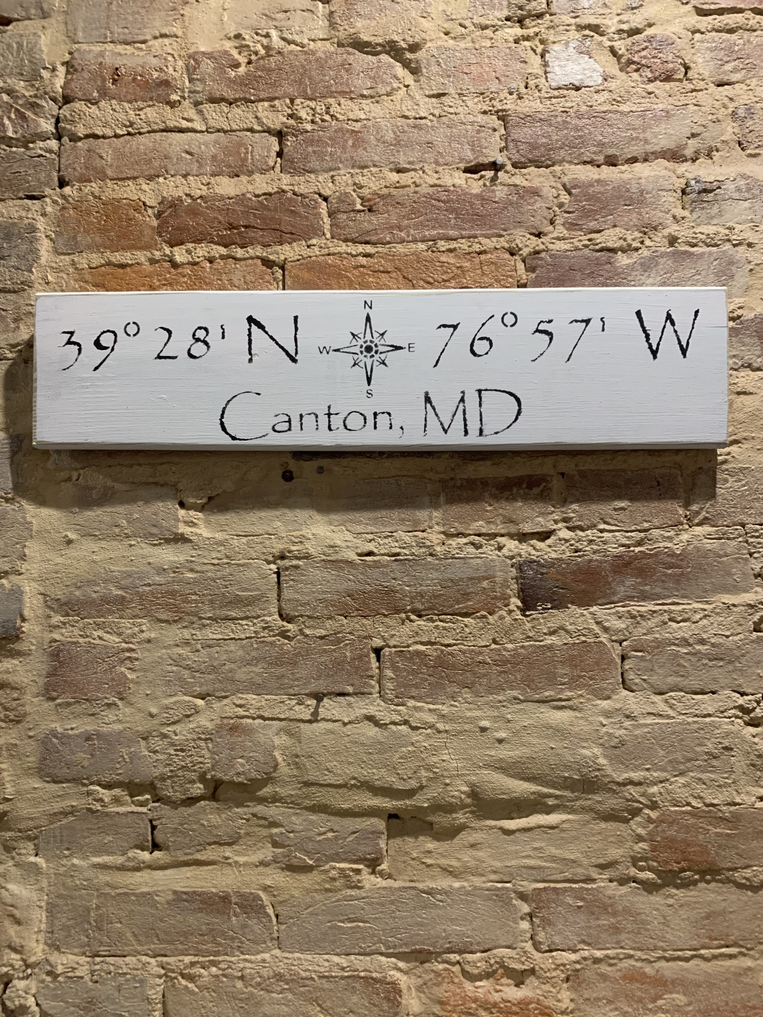 The Painted Mermaid Canton Coordinates Sign - White Compass
